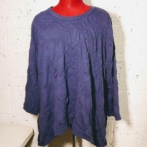 Cut Loose NWT Lagenlook Purple Textured Tunic Top
